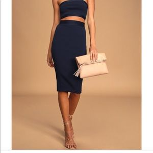 Navy Blue One-Shoulder Two-Piece Bodycon Dress